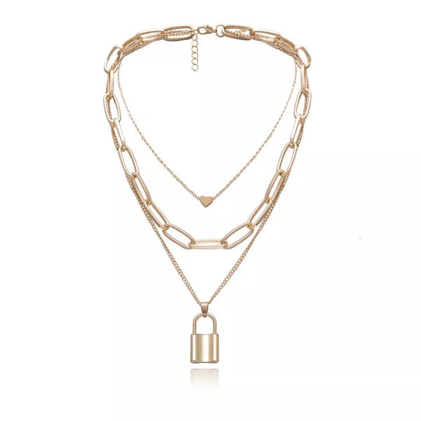 ❤️ Heart & Lock Layered Chain Necklace