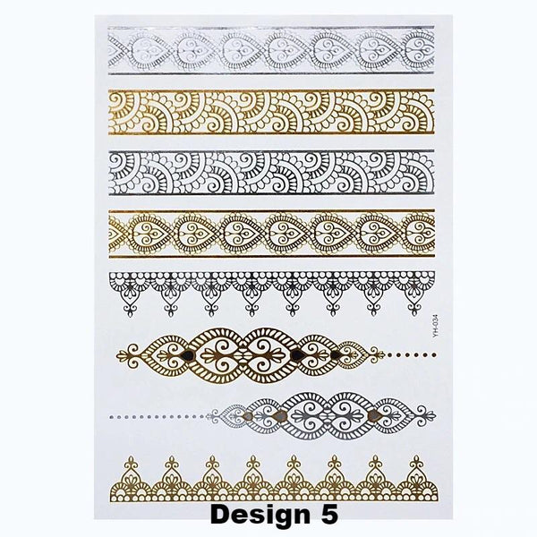 Metallic Temporary Tattoos - 6 Classic Must-Have Designs - The Songbird Collection