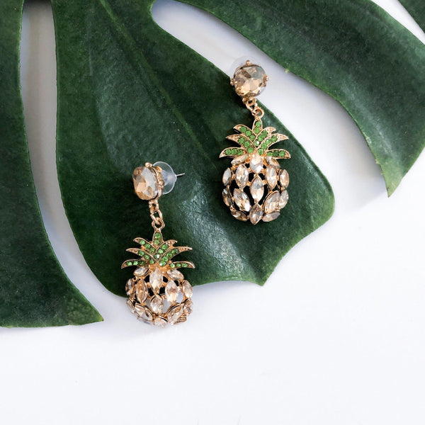 Pineapple Crystal Earrings - 7 NEW Colors RESTOCKED!! - The Songbird Collection