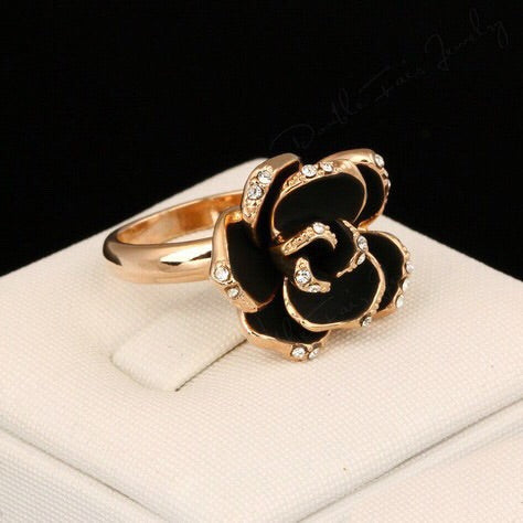 Camellia Flower Ring - in Cream and Black! LOW STOCK!! - The Songbird Collection