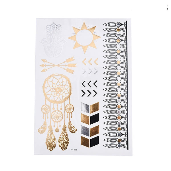 Metallic Temporary Tattoos - 6 STYLES! Feathers and Center Pieces - The Songbird Collection