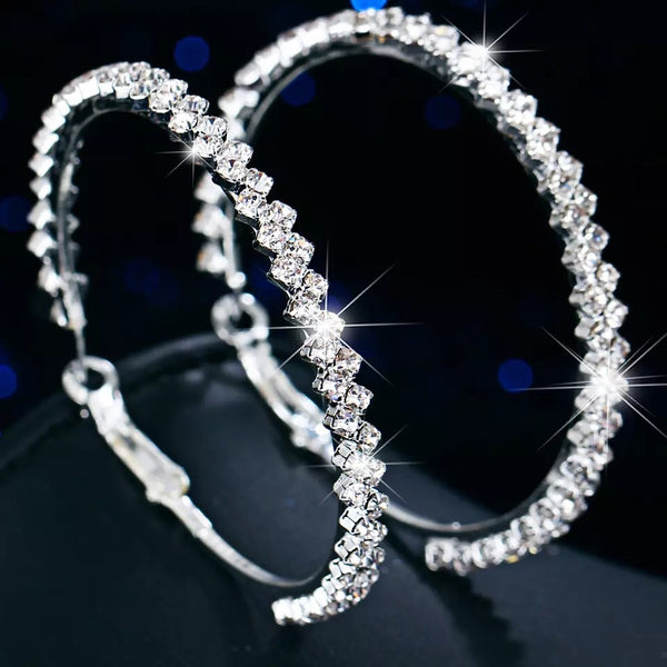 Zig Zag Rhinestone Hoop Earrings - The Songbird Collection