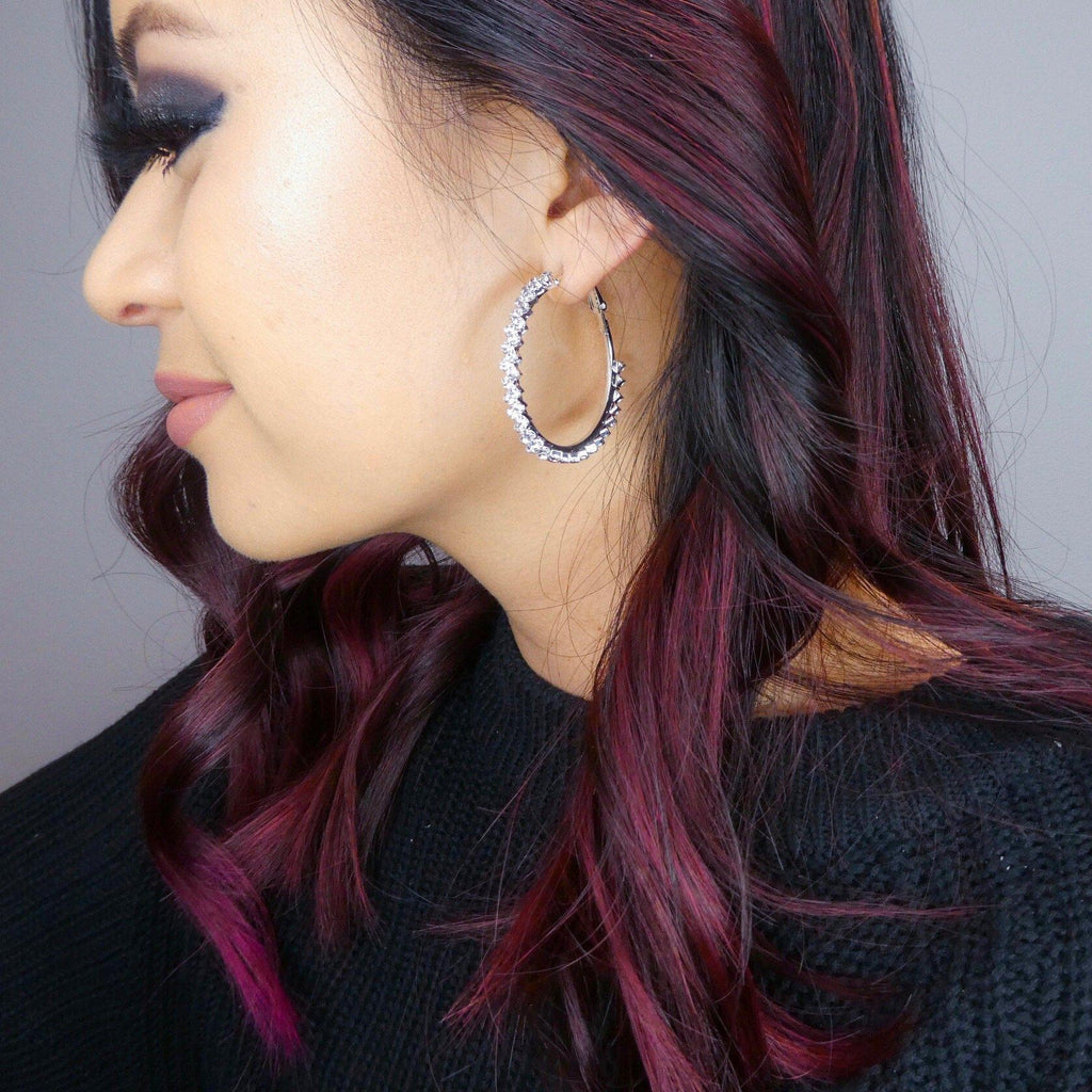 Zig Zag Bling Hoop Earrings