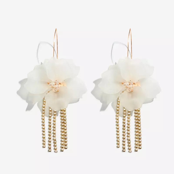 Penelope Flower & Rhinestone Tassel Earrings - 6️⃣ LEFT - The Songbird Collection