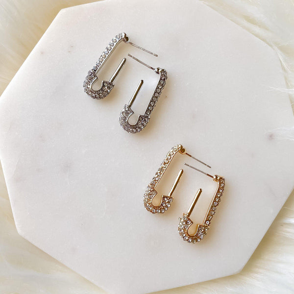 Glitz Safety Pin Earrings - As Seen on Celebrities! - The Songbird Collection