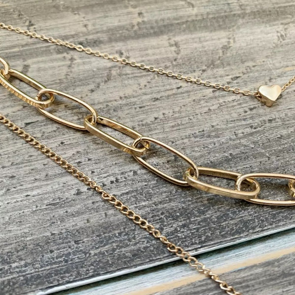 ❤️ Heart & Lock Layered Chain Necklace - Best Seller!