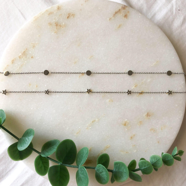 Circles or Stars Stainless Steel Choker Necklace - Low Stock! - The Songbird Collection