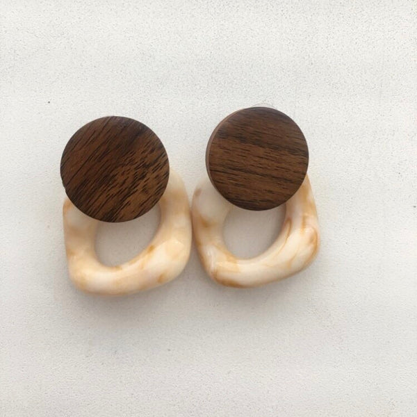 Sydney Wooden Geometric Earrings - Last Chance! - The Songbird Collection