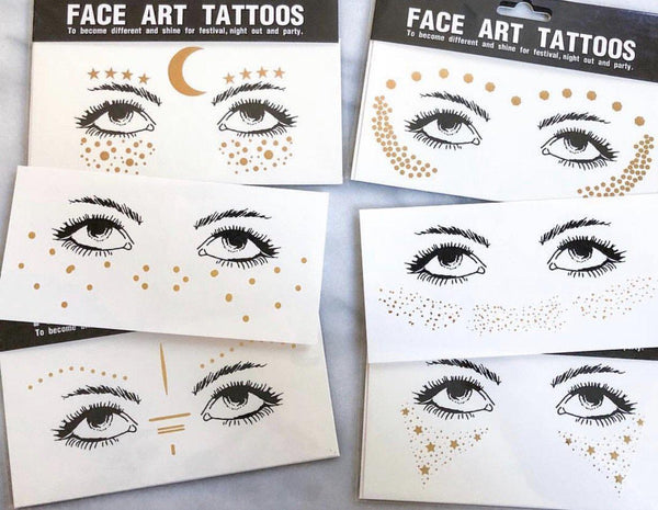 Metallic Face Temporary Tattoo Jewels - 10 DESIGNS! - The Songbird Collection