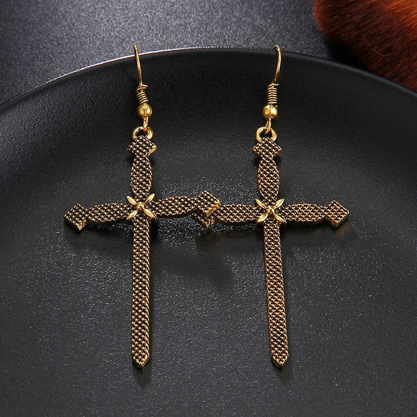 Sanctus Gothic Cross Earrings