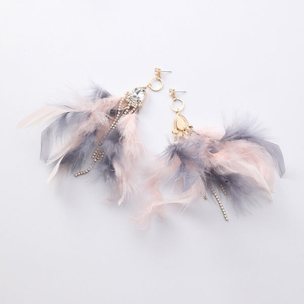 Blue Dazzle Feather  Earrings - 4 Heavenly Colors LOW STOCK! - The Songbird Collection