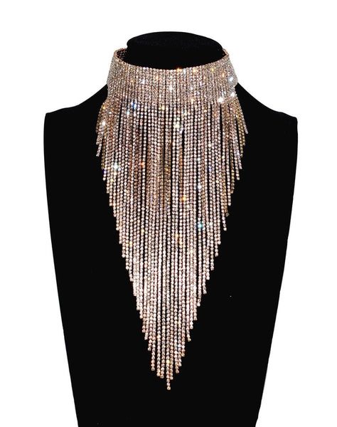 Drippin Glam Rhinestone Statement Choker Necklace - RESTOCKED & ON SALE!!! - The Songbird Collection