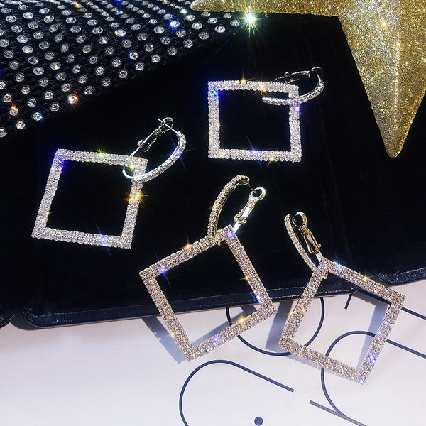 Heart 💜 Square Rhinestone Earrings - The Songbird Collection