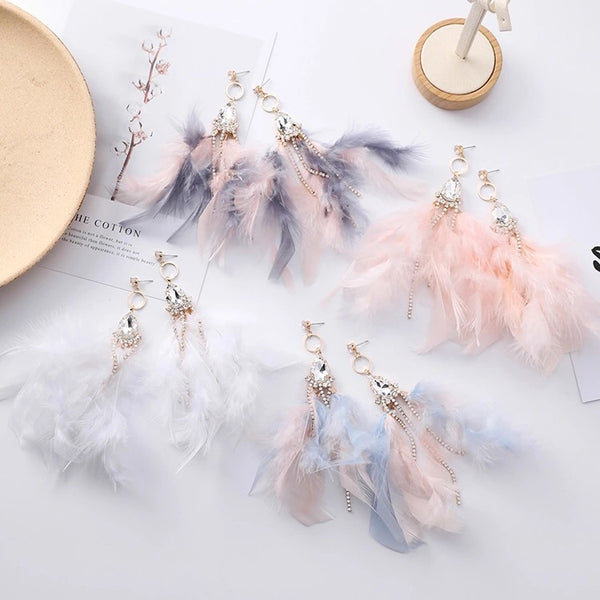Blue Dazzle Feather  Earrings - Now in 4 Heavenly Colors! - The Songbird Collection