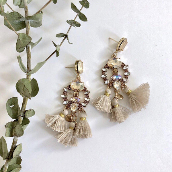 Scintillante Gem Tassel Earrings - 5 Colors!