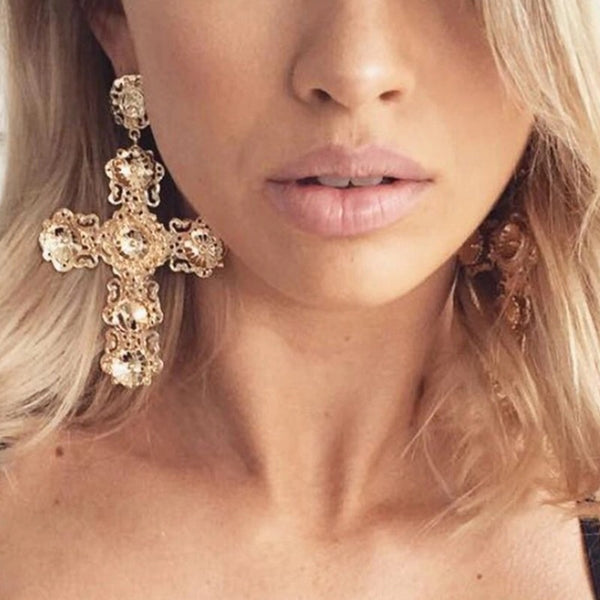 Golden Opulence Cross Earrings - Hurry! Just a COUPLE LEFT! - The Songbird Collection