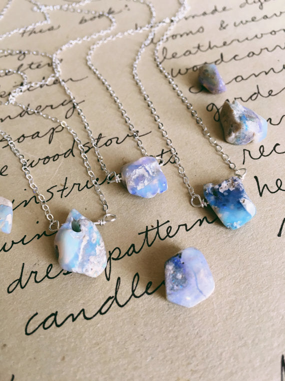 Raw Australian Opal Necklace on Sterling Silver Chain