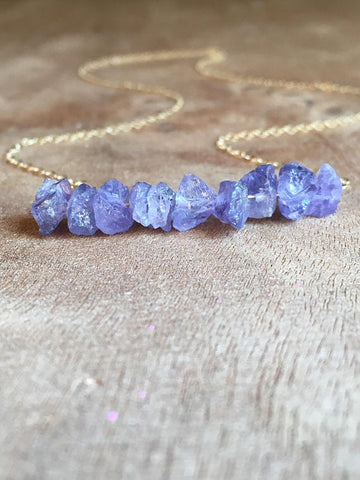 Raw Tanzanite Necklace 14k Gold Filled or Sterling Silver