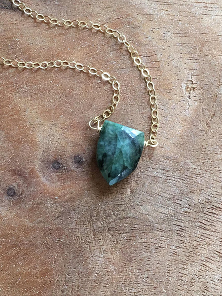 Emerald Pendant Necklace 14k Gold Filled or Sterling Silver Chain