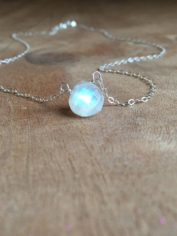 Dainty Moonstone Pendant Necklace Sterling Silver or Gold Fill