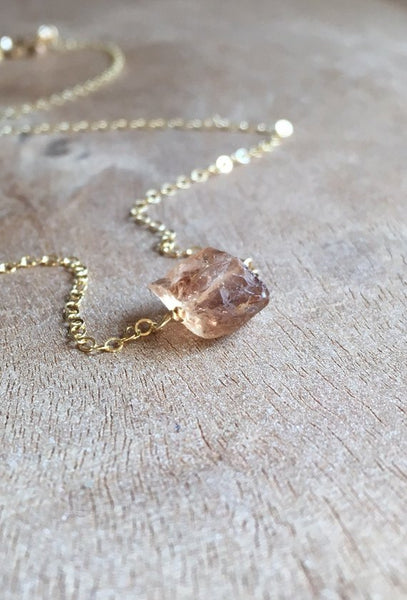 Dainty Raw Imperial Champagne Topaz Necklace Silver or Gold
