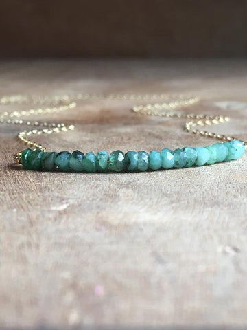 Emerald Bar Necklace on 14k Gold Filled or Sterling Silver Chain