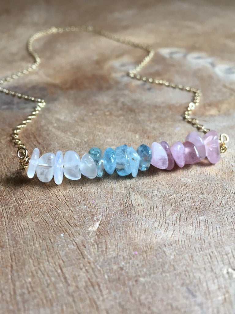Raw Crystal Healing Necklace Moonstone Rose Quartz Aquamarine- Fertility Necklace
