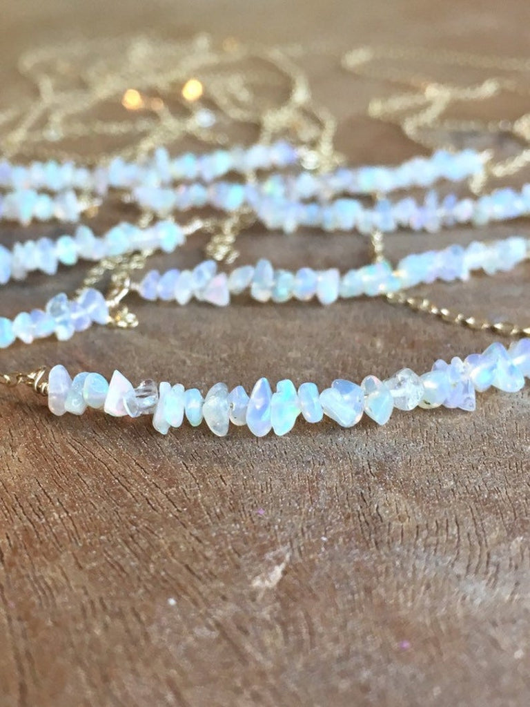 Raw Welo Opal Necklace on Sterling Silver or 14k Gold Filled