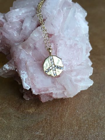 Gold Peace Sign Charm Necklace With Cubic Zirconia