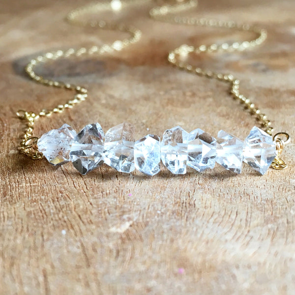 Herkimer Diamond Necklace Gold Fill OR Sterling Silver  Raw Crystal Necklace