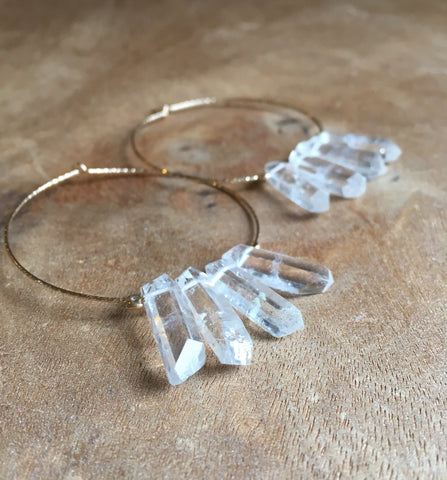 Large Boho Gold Filled Hoops With Raw Crystal Quartz