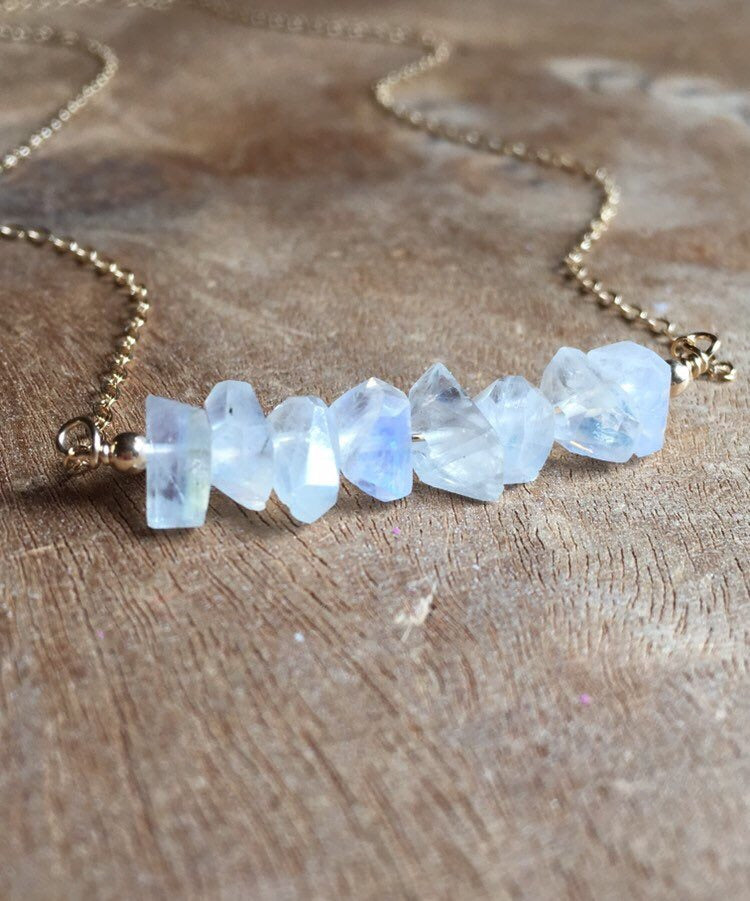 White Rainbow Moonstone Necklace On Sterling Silver or 14k Gold Filled Chain