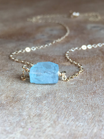 Dainty Raw Aquamarine Necklace March Birthstone Jewelry Gift For Women