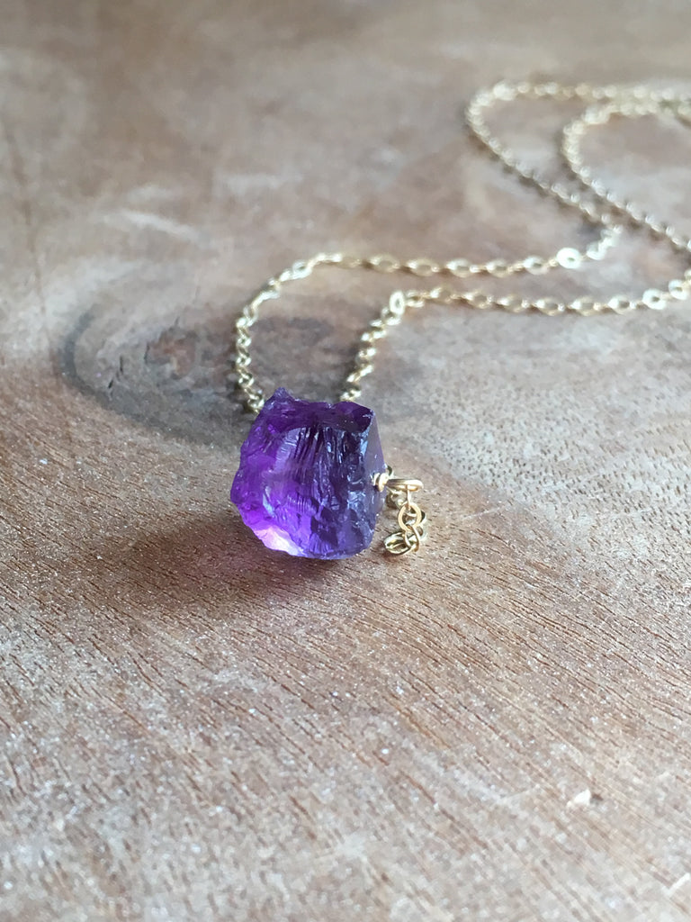 Raw Amethyst Crystal Necklace Sterling Silver or Gold Fill