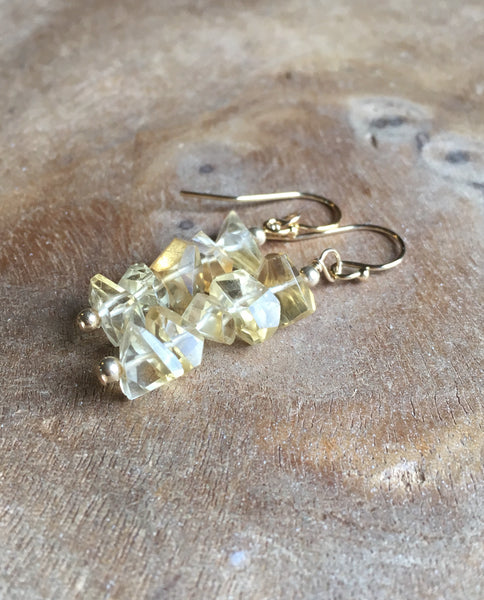 Citrine Drop Earrings Sterling Silver Or Gold Fill