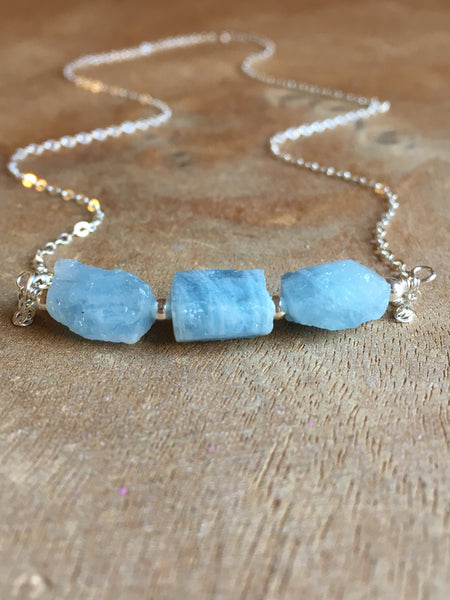 Raw Aquamarine Pendant Necklace March Birthstone Jewelry Gift For Wife