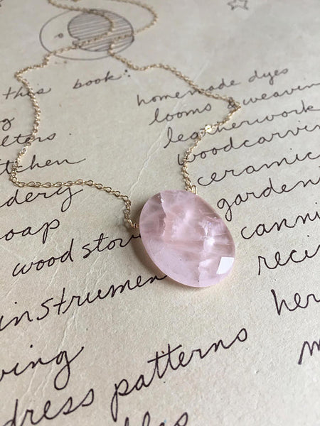 Rose Quartz Pendant Necklace on 14K Gold Fill or Sterling Silver