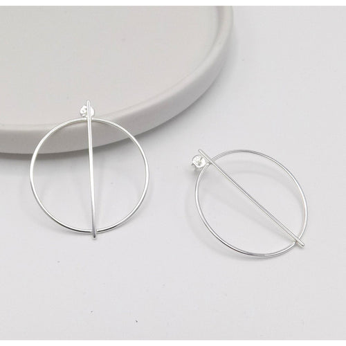 925 Sterling Silver Circle Bar Earring (102-4509) - STARCURLS.COM