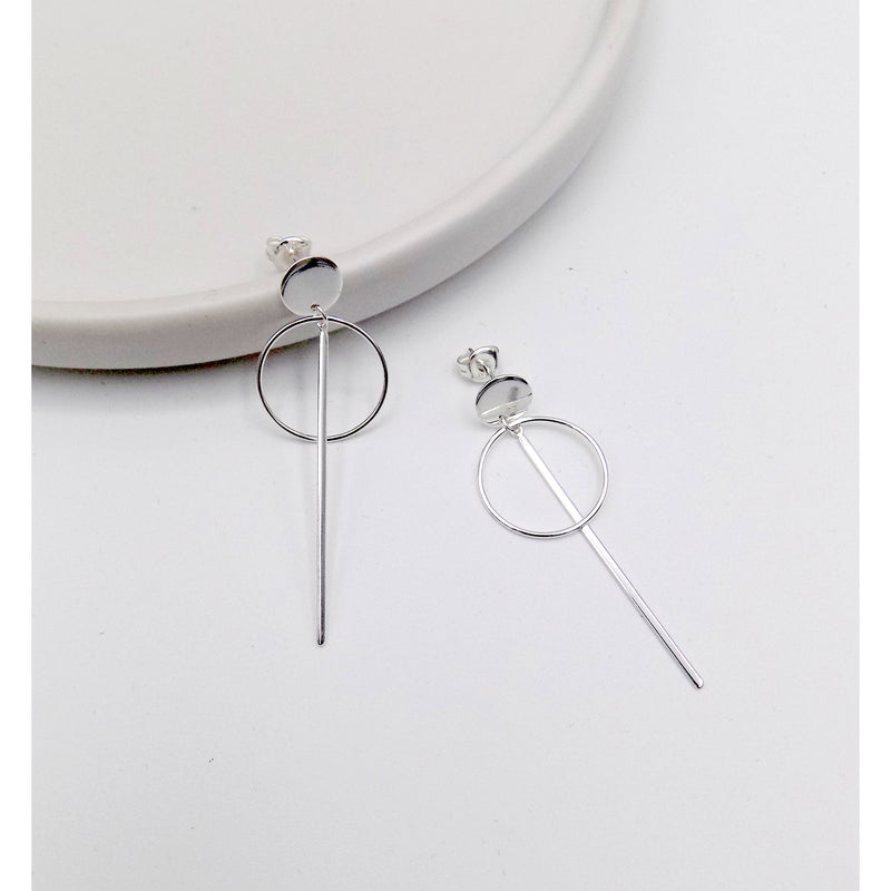 925 Sterling Silver Disc Bar Earring(102-4561) - STARCURLS.COM