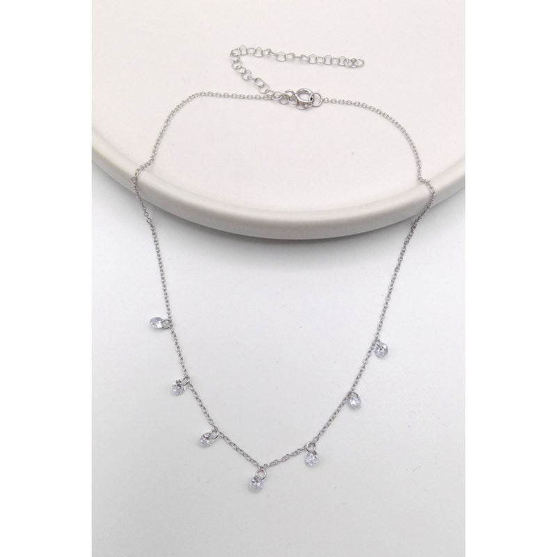 925 Sterling Silver Crystal Dangling Choker Necklace (105-0700) - STARCURLS.COM