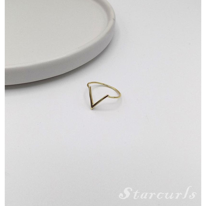 925 Sterling Silver Chevron Geometric Ring (11-3706) - STARCURLS.COM