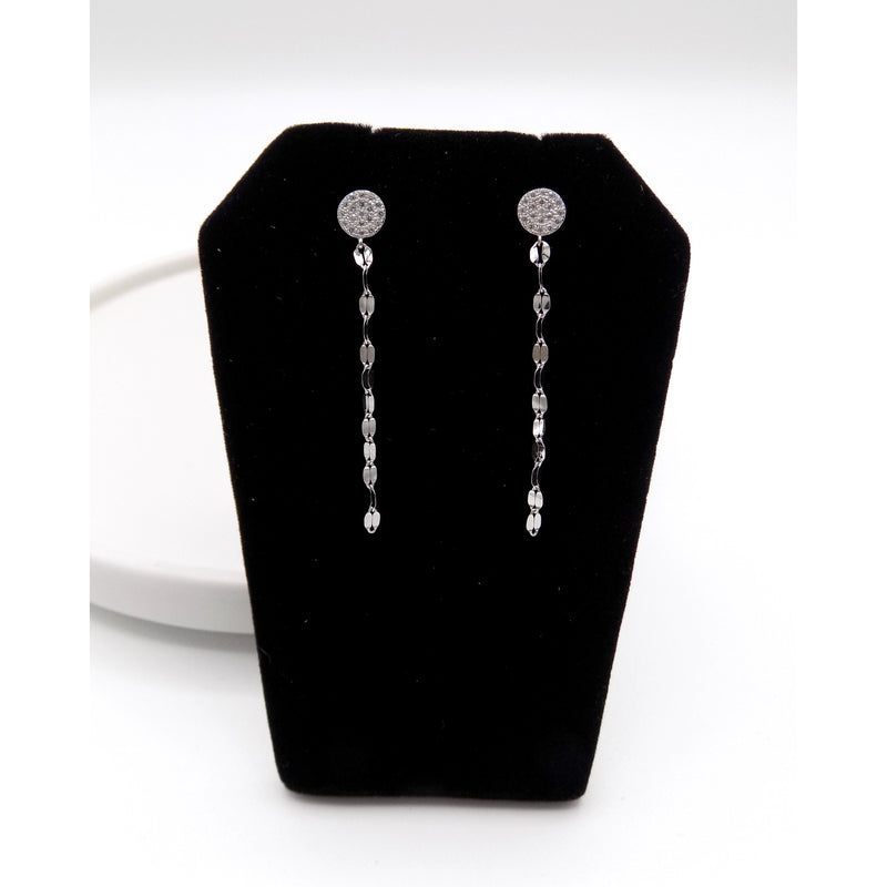 925 Sterling Silver Pave Stones Chain Drop Earring(52-3560) - STARCURLS.COM