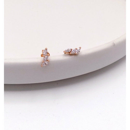 925 Sterling Silver Tiny Crystal Earring(52-3569) - STARCURLS.COM