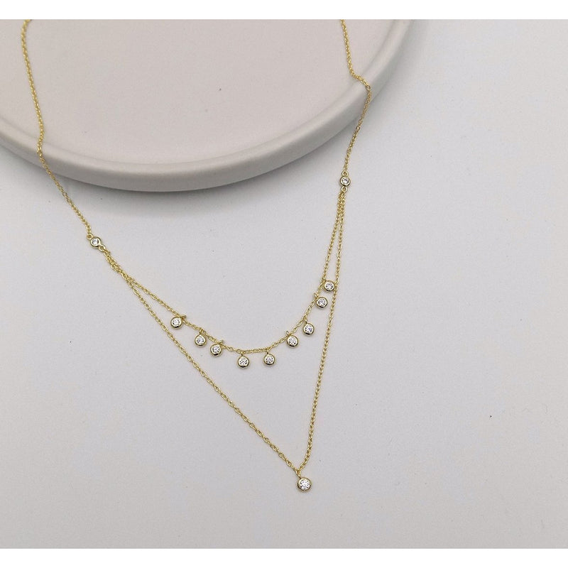 925 Sterling Silver Double Layered Stone Necklace (55-2160) - STARCURLS.COM