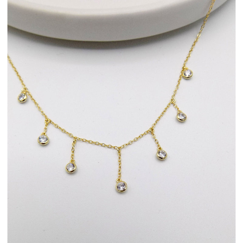 925 Sterling Silver Stone Drop Necklace (55-2411) - STARCURLS.COM