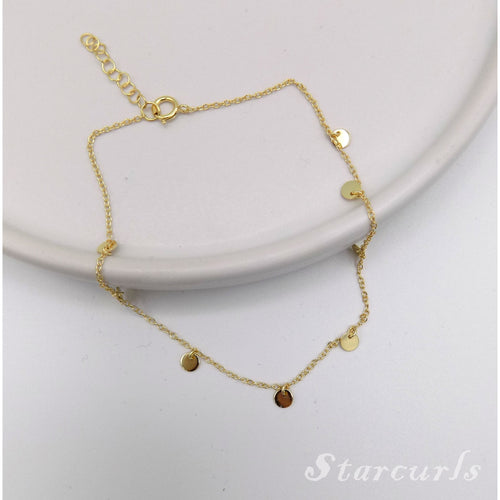 925 Sterling Silver Mini Disc Dangling Anklet (A-1801) - STARCURLS.COM