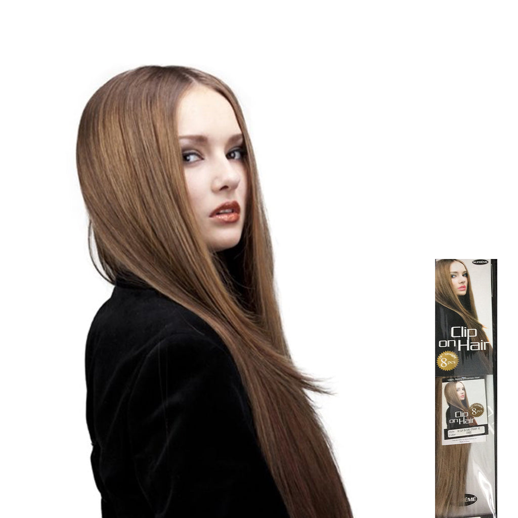 SUPREME HUMAN HAIR 8 PC CLIP ON EXTENSION - EURO STRAIGHT 18″