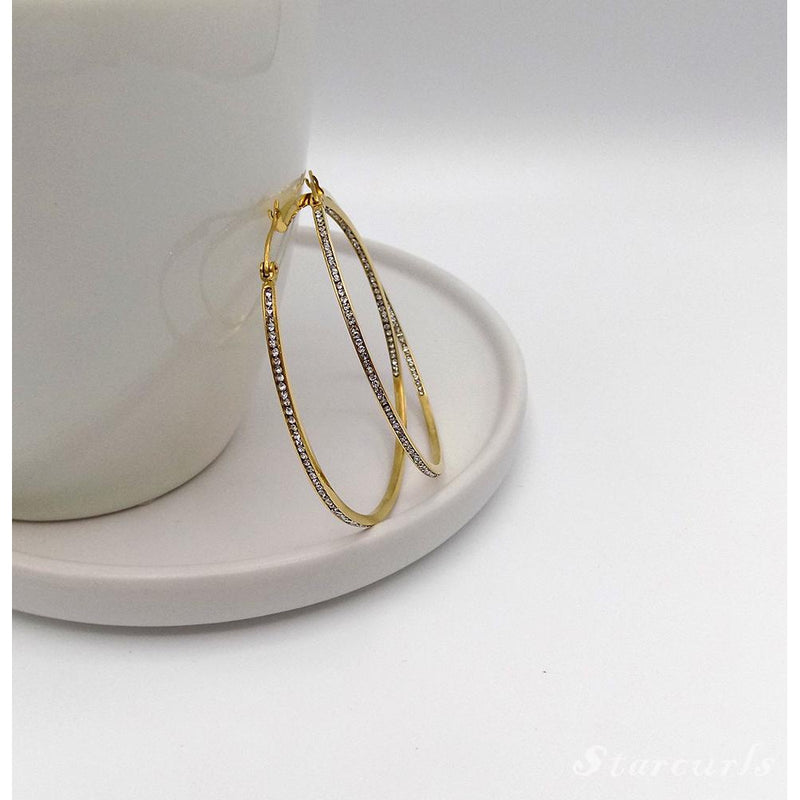 Gorgeous All Around Cubic Zirconia Hoop Earring (E-1802) - STARCURLS.COM