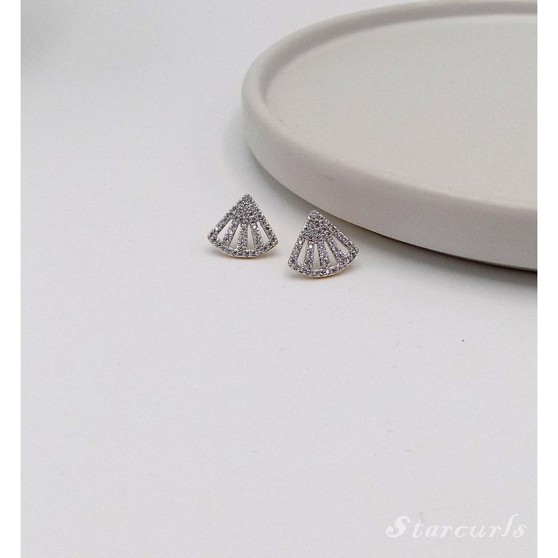 Pave Fan Stud Earrings (E-1810) - STARCURLS.COM