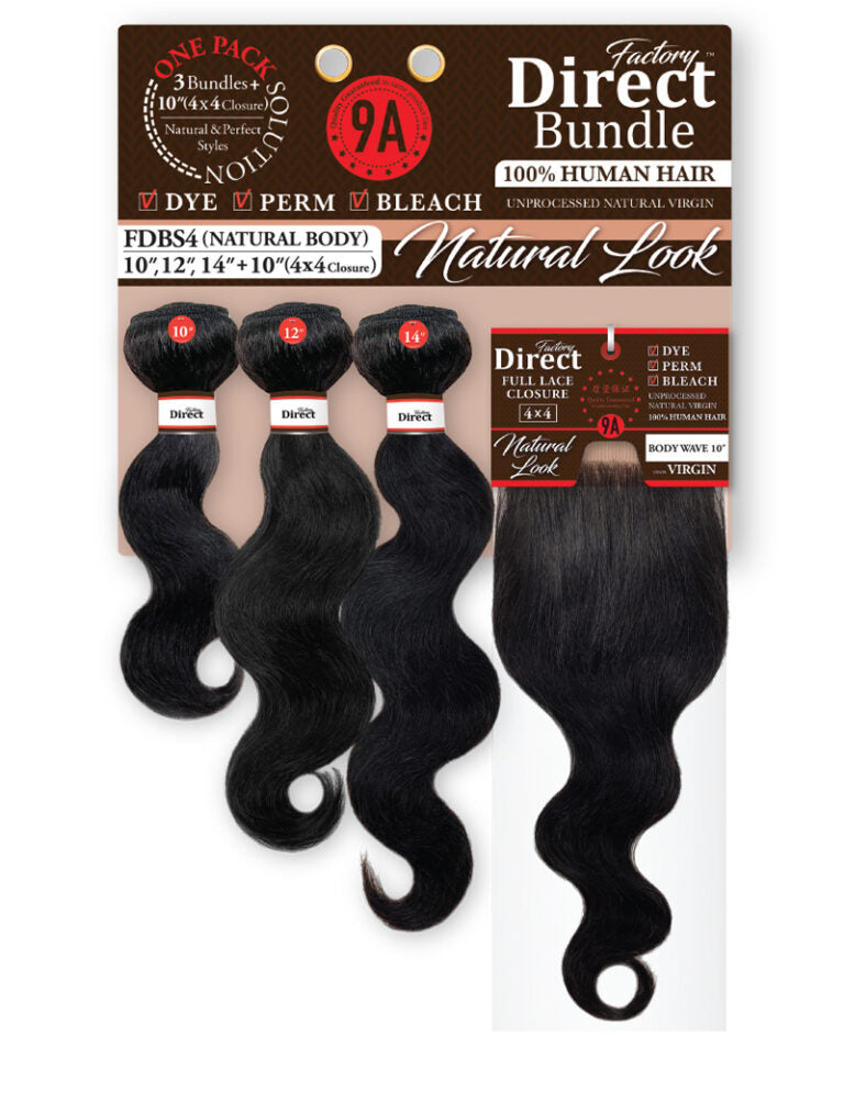 [3 BUNDLE + CLOSURE] 9A GRADE 100% HUMAN HAIR 3 BUNDLES + 4X4 CLOSURE (FDB) - STARCURLS.COM